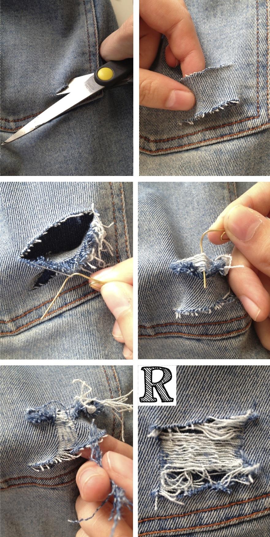 Как в домашних условиях сделать рваные джинсы пошаговая инструкция фото